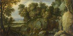 (probably) Martin Ryckaert (Belgium, 1587 - 1631)  Landscape with Satyrs, c. 1626  Oil on oak  10.3 x 20.4 cm