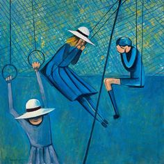 """""""Children Playing"""" 1953 by Charles Blackman (Australian) Australian Painting, Australian Artists, Alice In Wonderland Series, Paintings Famous, Girls Series, The Design Files, Spring Art, Modern Artists, Feeling Special"""