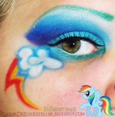 my little pony eye makeup by Lover-of-makeup@jessica driscoll (or maybe Mom can paint cutie marks on the kids' faces!) :)