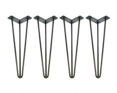 Hairpin Legs Set of 4 USA Made Hairpin Hairpin Table Legs Desk Legs Mid Century Modern Modern Coffee Table Furniture Leg Metal Leg Coffee Table Legs, Metal Table Legs, Modern Coffee Tables, Coffee Desk, Hairpin Table, Hairpin Legs, Desk Legs, Bench Legs, Furniture Legs