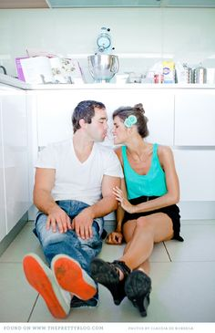 Engagement photos in the kitchen - perfect for @John Searles Price and I!