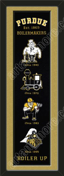 This framed Purdue University heritage banner, double matted in team colors to 8 x 32 inches.  $119.99 @ ArtandMore.com