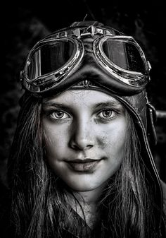 'SteamPunk Girl' by DraganR Foto Portrait, Female Portrait, Black And White Portraits, Black White Photos, Monochrome Photography, Black And White Photography, Girl Face, Woman Face, Photographie Portrait Inspiration