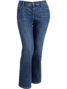 Womens Plus Tummy-Trimmer Boot-Cut Jeans - Tummy, youve been tamed! Our special Tummy Trimmer jeans feature stretchy mesh pocket lining that extends across the front to smooth your stomach and banish those unwanted bulges. Add classic five-pocket style, a medium denim wash with two-tone topstitching and a boot-cut leg, and you have one fabulously flattering fit.