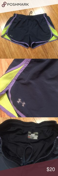 Under Armour Gray Semi-Fitted Shorts Gray, neon green, and purple shorts. Excellent condition. Under Armour Shorts