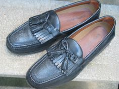 Johnston & Murphy Used Black Leather Dress Loafers 10.5 #JohnstonMurphy #LoafersSlipOns