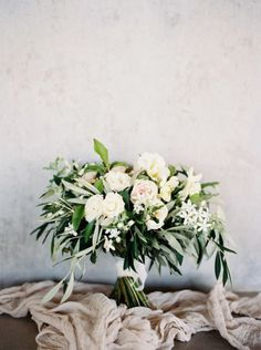 Fresh Greenery Bouquet with Blush and White Flowers | Katie Grant Photography