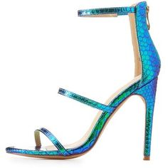 Charlotte Russe Embossed Holographic Three-Piece Sandals