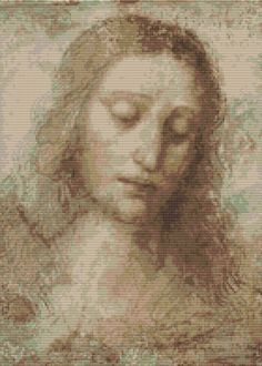 Counted Cross Stitch KIT Head of Christ by Leonardo da Vinci by TheArtofCrossStitch on Etsy. Also available in PDF. #crossstitch