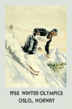 about 1952 Ski Winter Sport Olympics Oslo Norway skiing Vintage Poster Repro FREE S/H - Norway Winter, Oslo Winter, Winter Family Vacations, Vintage Ski Posters, Stations De Ski, Winter Games, Thinking Day, Sports Pictures, Winter Olympics