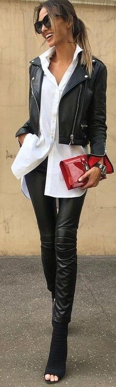 #summer #prefall #outfits | Black and White + Pop Of Red