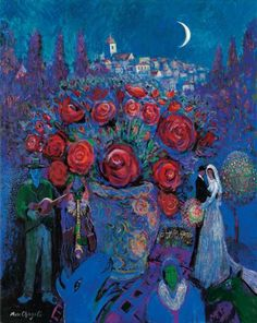 Wedding Flowers in the style of Marc Chagall by John Myatt - 2