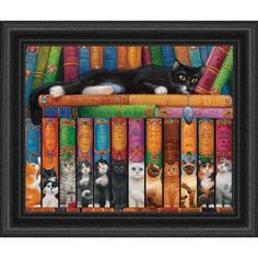 Heaven and Earth Designs Cat Double Shelf Counted Cross-Stitch Chart CAD 33.74