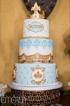 Royal prince birthday party cake! See more party ideas at http://CatchMyParty.com!