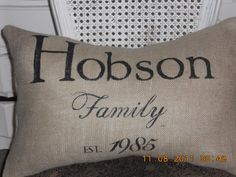 Custom Family Burlap Pillow Slip by TheLetteredHome on Etsy, $35.00