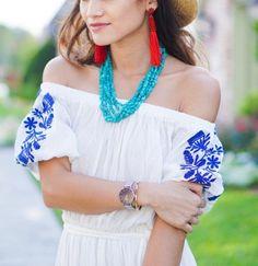 red tassel earrings, turquoise necklace, daniel wellington watch, blue embroidery