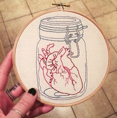 Anatomical Heart in Jar Embroidery