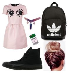 School outfit #2 by kaileyknaak on Polyvore featuring polyvore fashion style RED Valentino Converse adidas Originals clothing