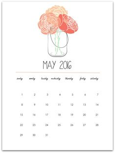 May Calendar Page Printable – Mason Jar with Flowers Free Printable. Click here to download May 2016 mason jar calendar page printable. To my dear, dear, dear mason jar craft loving r…