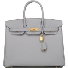 Pre-Owned Hermes Blue Glacier Epsom Birkin 35cm Gold Hardware (£15,215) ❤ liked on Polyvore featuring bags, handbags, sac, blue, multi colored leather purses, leather handbags, multi colored leather handbags, kiss-lock handbags and genuine leather handbags