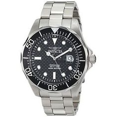 Buy Invicta Mens 12562X Pro Diver Black Carbon Fiber Dial Stainless Steel Watch