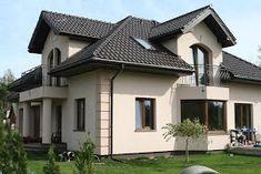 Elewacje Zuzzy: Czekoladowe dachy, ciemne okna - letni deser Outside House Paint, House Outside Design, House Front Design, Modern House Design, Dream Home Design, House Balcony Design, Village House Design, Classic House Exterior, House Paint Exterior