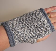 slate blue and white colored fingerless gloves made by kjpatino, $8.00