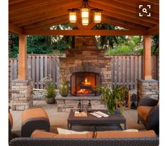 Inside view of pergola area fireplace is gorgeous