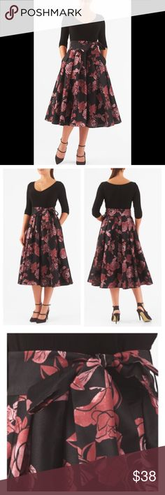 """New Eshakti Rose Fit & Flare Midi Dress M 8 10 New Eshakti mixed media rose print fit & flare dress Custom size M 8 10 Measured flat: Underarm to underarm: 34"""" Empire waist: 31"""" Length: 42"""" Sleeve: 12"""" Bust tried on: 36"""" Cotton/spandex, woven jersey knit bodice, medium stretch, w/ darts to shape & back zipper. Seamed waist w/ removable sash tie belt, flared skirt w/ side seam pockets. Lined in polytaffeta. Skirt: Polyester, woven dupioni, high sheen, light textured slubs. Dry clean New w…"""