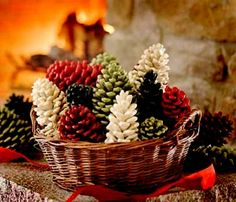 pinecones dipped in leftover wax and sprinkled with crushed spices. Firestarter or decoration.