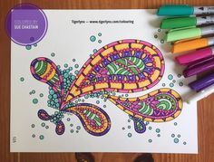 Afternoon pick-me-up! Line art by @tigerlynxart From Adult Coloring Book Treasury 2. ArtMinds markers from @michaelsstores #coloringtreasury #treasurycoloring #coloringfun #icoloredit #beautifulcoloring #coloringbook
