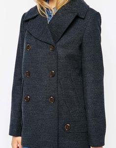 Image 3 ofASOS Pea Coat With Tab Detail