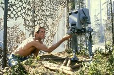 Behind the scenes: Imperial Scout Walker model work on the set of RETURN OF THE JEDI (1983)