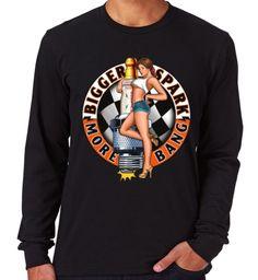 Velocitee Mens Premium Long Sleeve T-Shirt Hot Rod Garage Rat Rockabilly W17681