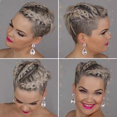 Short Shaved Hairstyles, Curly Bob Hairstyles, Undercut Hairstyles, Very Short Hair, Short Straight Hair, Medium Hair Styles, Curly Hair Styles, Half Shaved Hair, Short Hair Undercut