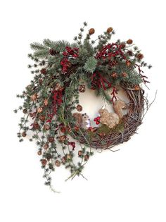 Squirrel Fall Wreath for Door, Christmas Wreath, Holiday Wreath, Winter Wreath, Silk Floral Grapevine Wreath, Red Berries, Pine Cones, Wreath on Etsy, by Adorabella Wreaths!