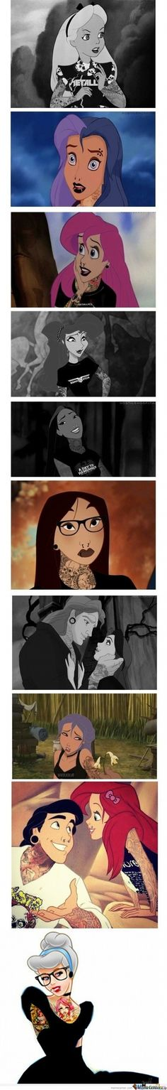 Disney Punk Rock Princesses ... ariel, belle, and pocahontas are my faves :D
