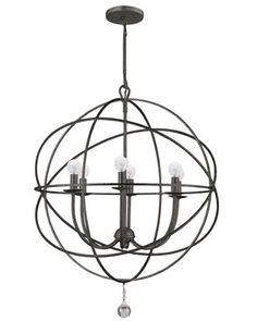 Wrought Iron Sphere Chandelier - Horchow - don't like how it bulges, the round bulbs or the round hanging sphere