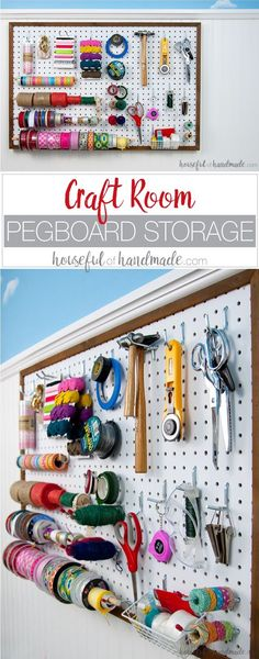 Create the perfect place to organize your most used supplies! Learn how to hang pegboard so it is removable if needed. http://Housefulofhandmade.com | Craft organization ideas | Craft room remodel | Pegboard organization | $100 Room Challenge | Easy woodworking | Easy building plans | Free Building plans
