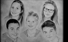 Dessin au crayon portrait famille. Drawing pencil. www.samos17.fr