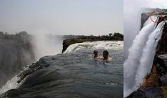 The Devil's Swimming Pool, or Devil's Armchair, is a natural and spectacular infinity pool formed at the top of Victoria Falls, Zambia. Even though it is located 420 feet above the river below, it is perfectly safe (in the dry season)