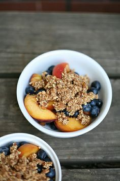 Raw peach and blueberry cobbler