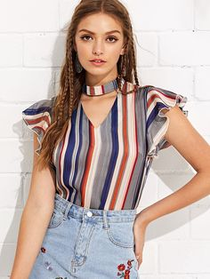 SHEIN Multicolor Vacation Boho Bohemian Beach Striped V Neck Butterfly Sleeve Ruffle Blouse Summer Women Elegant Shirt Top Ruffle Shirt, Ruffle Top, Neck Choker, Mode Hijab, Types Of Sleeves, Bohemian Beach, Office Ladies, Ladies Workwear, Striped Blouses