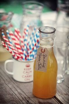 stripy straws 'n brown-paper tags