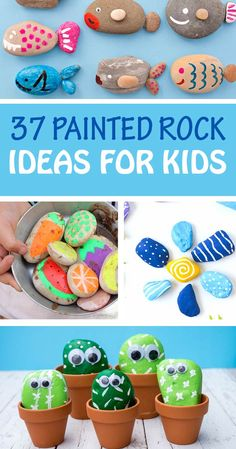 Painted rocks for kids to make this summer. These painting rock ideas for kids are a great nature activity and an easy craft - Painted Rocks For Kids - Nature Summer Craft Summer Arts And Crafts, Fun Crafts For Kids, Craft Activities For Kids, Toddler Crafts, Art For Kids, Craft Kids, Children's Arts And Crafts, Kids Nature Crafts, Creative Ideas For Kids