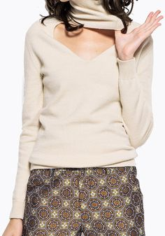 Apricot Plain Cut Out High Neck Fashion Acrylic Pullover Sweater