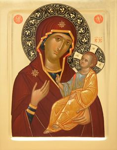 This Iveron icon of the Mother of God is handpainted on a gessoed wooden board using egg tempera paints. A real masterpiece from the icon painting studio of St Elisabeth Convent Religious Icons, Religious Art, Mother Mary, Mother And Child, Christian Artwork, Best Icons, Byzantine Icons, Holy Mary, Virgin Mary