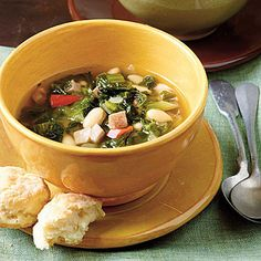 Turnip Green Stew   Lean ham and fat-free broth offer the good flavor of the original dish minus the added saturated fat. Beans add extra fiber too!