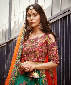 Love the blouse, hair, and jewelry, but I'm not sure about the color of the gaghra and dupatta Bridal Mehndi Dresses, Desi Wedding Dresses, Indian Wedding Outfits, Indian Outfits, Bridal Lehenga, Wedding Attire, Wedding Themes, Party Dresses, Bridal Gowns