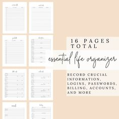 Successful Life, Organizational Pages, Inserts for a Successful Life | Emails, Passwords, Credit and Debit Cards, Banking, Bills, and More by DesignerJaim on Etsy Eyelash Extension Training, Youtube Channel Art, Personal Planners, Business Planner, Social Media Influencer, Life Organization, Hole Punch, Print Format, High Quality Images